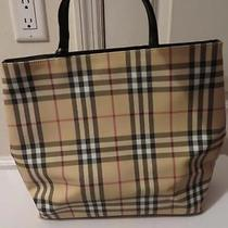 Womens Burberry Beige/black/red Plaid Leather Tote Bag Photo