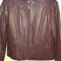 Womens Burgundy Genuine Leather Jacket Removable Insulated Liner Knoles & Carter Photo