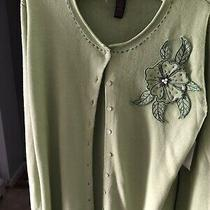 Womens Button Up Sweater Top Sz Large  14-16 Green Classic Elements Photo