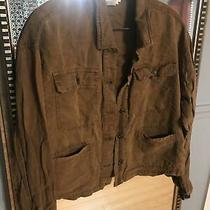 Womens c&c California Brown Light Button Down Cargo Linen Jacket Size Medium.  I Photo