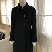 Womens Calvin Klein Classic Wool Cashmere Coat - Lined - Navy Blue - Size 8 Photo