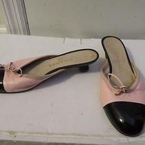Womens Chanel Blush Leatherblack Patent Leather Kitten Heel Slip-on Mules Sz-38 Photo