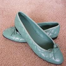 Womens Chanel Green Quilted Cap Toe Ballet Flats Brand New Size 40 Photo