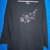 Womens Classic Elements Black Floral Embroidery Beads  Sequins Size L Photo