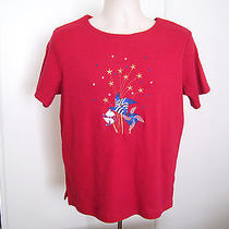 Womens Classic Elements Short Sleeve 100% Cotton Red Blue White Top T-Shirt Sz M Photo