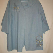 Womens Classic Elements Woman Light Weight Denim Shirt Size 20w -22w  Photo