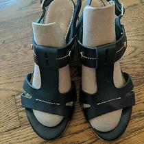 Womens Coach and Four Wedge Heel Sandals Black Strappy Shoes Size 8 Photo