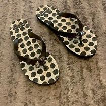 Womens Coach Beach Flip Flop Thong Sandals With Metal Silver Bow Photo