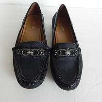 Womens Coach Black Canvas Flat Flats Shoes 7 1/2 Career Size 7.5 Signature Photo