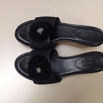 Womens Coach Black Flower Monogram Wedge Mules Sandals Sz 7 Photo