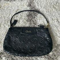 Womens Coach Black Perforated Leather Shoulder Bag Clutch Purse Photo