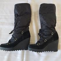 Womenscoach Boots Signature High Wedge Boots Suede Black Us Sz 6 Photo