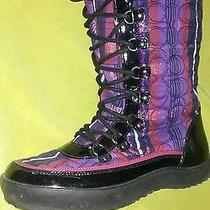 Womens Coach Boots Snow Winter 8 B Peggey  Berry Purple  Tartan Plaid Black Used Photo