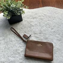 Womens Coach Cognac Brown Luggage Tan Leather Wristlet Euc Photo