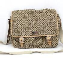 Womens Coach Crossbody Messenger Laptop Shoulder Bag Beige/ Brown Mint Nwot Photo