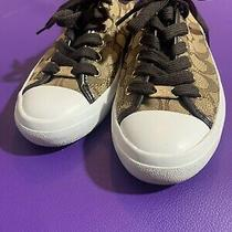 Womens Coach Empire Signature Brown and Tan Sneakers Size 7.5 B Lace Up No Box Photo