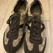 Womens Coach Kathleen Signature Sneakers Brown Size 7.5 Photo