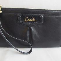 Womens Coach Large Black Croc Leather Wristlet Wallet Clutch Bag Photo