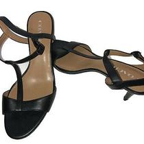 Womens Coach Melodie Black Calf T Strap Leather Sandals Size 9b Photo
