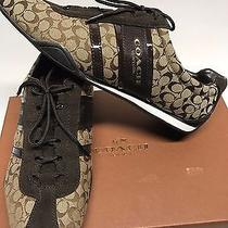 Womens Coach New York Remonna Khaki Chestnut Brown Signature Sneaker Shoes 8.5m Photo