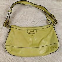 Womens Coach Signature Stitched Yellow Patent Leather Hobo Shoulder Bag Purse Photo