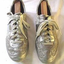 Womens Coach Silver Leather & Logo Textile Athletic Shoes Sz 9.5m Euc  Photo