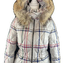 Womens Coach Tattersall 84053 Short Legacy Puffer Coat Fur Trimmed Hood Size Xs Photo