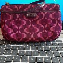 Womens Coach Wristlet Purse Handbag Purple Excellent Condition  Photo