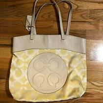 Womens Coach Yellow Cream Leather Textile Monogrammed Tote Bag Photo