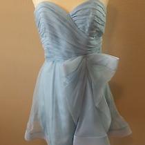 Womens Cocktail Dress Designer Abs Allen Schwartz Powder Blue Silk Corset Nwt Photo