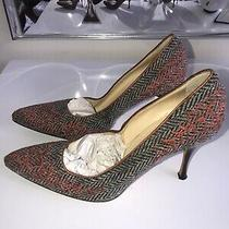 Womens Cole Haan Collection High Heels Shoes Pumps Tweed Woven Sz 10 Photo