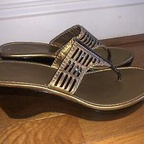 Womens Cole Haan Nikeair Gold Brown Wedge Thong Sandals Comfort Shoes Size 8.5 B Photo
