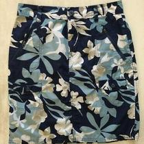 Womens Columbia Active Tropical Floral Skirt Blue Beige Size 6 Photo