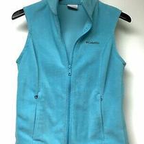 Womens Columbia Fleece Vest Teal Blue Full Zip Zip Front Pockets Size S Layerin Photo