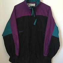 Womens Columbia Parka Coat Jacket Gizzmo Large Black Green Purple Radial Sleeve Photo