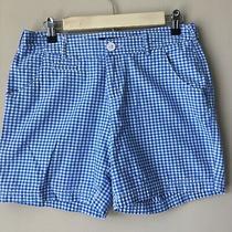 Womens Columbia Pfg Super Bonehead Shorts Sz 6 Blue White Gingham Plaid Photo