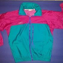 Womens Columbia Sz M Pink/turquoise Radial Sleeve Hooded Windbreaker/rain Jacket Photo