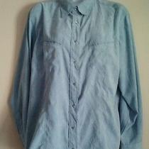 Womens Columbia Xco Xl Button Up Pearl Snap Western Shirt Light Blue Faux Suede Photo