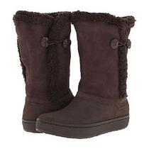Womens Crocs Modessa Suede Button Brown Espresso Winter Snow Mid Calf Boots 10 Photo
