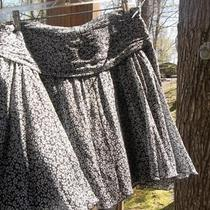 Womens Cute Black White Express Silk Flowy Skirt Sz 4 Photo