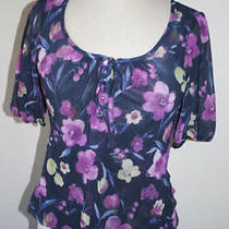 Womens Daisy Clover Boutique Anthropologie Nylon Floral Purple Top Small S Euc  Photo