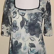 Womens Daisy & Clover Sweet Pea Size L Shirt Top Ivory Grey Teal Floral Nylon Photo