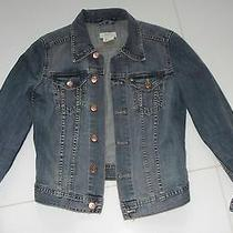 Womens Denim Jean Blue Jacket Coat Size 4 New Rose Gold Buttons Soft  Cotton   Photo