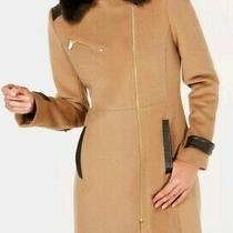 Womens Designer Fur Collared Camel Coat by via Spiga Size 10 Uk Bnwt Rrp 180 Photo