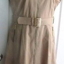 Womens Designer Lafayette 148 New York Khaki Beige Belted Shirt Work Dress 10 Photo