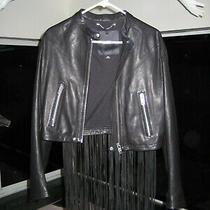 Womens Diesel Black Genuine Leather Fringe Jacket Designer Couture Medium Nwot Photo