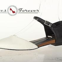 Womens Dolce Vita Casual White/black Leather Pointly Ankle Strap Flats Sz. 6 Photo