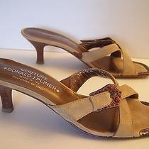 Womens Donald J Pliner Coutour Copper & Sand Leather Sandals / Heels 8.5n Nice Photo