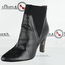 Womens Donald J. Pliner 'Hyde' Black Leather Classic Ankle Boot Heels Sz. 6 M Photo
