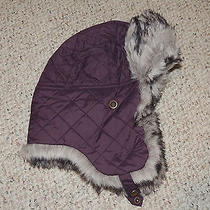 Womens Eddie Bauer Purple Fur Trim S/m Quilted Lined Winter Hat Ear Flaps Photo
